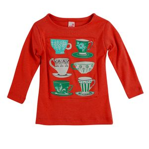 Camiseta-Cha-da-Tarde-Manga-Longa-Laranja---Menina-Toddler-