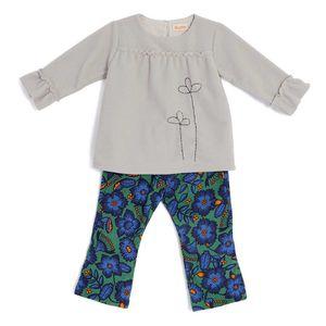 Conjunto-Blusa-Lisa-e-Calca-Estampada-Toddler-Menina-Green-by-Missako-