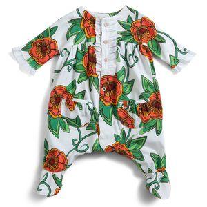 Macacao-Floral-Laranja-Menina-Recem-nascido-Green-By-Missako-