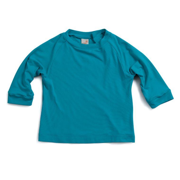 0a22a7ebda Camiseta Raglan Praia Manga Longa Azul Com Fator de Proteção UV 50+ ...