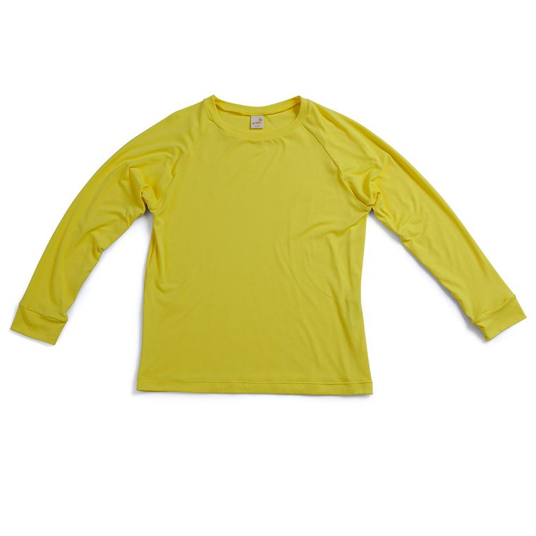 7733f89c6f Camiseta Raglan Praia de Manga Longa Amarela Com Fator de Proteção ...