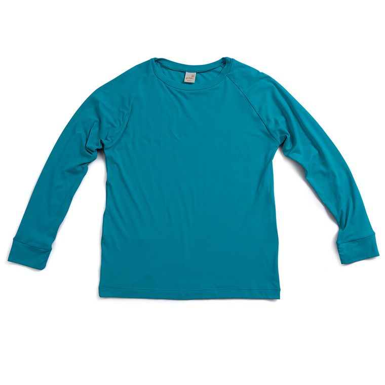 39b5e8b5ee Camiseta Raglan Praia de Manga Longa Azul Com Fator de Proteção 50+ ...