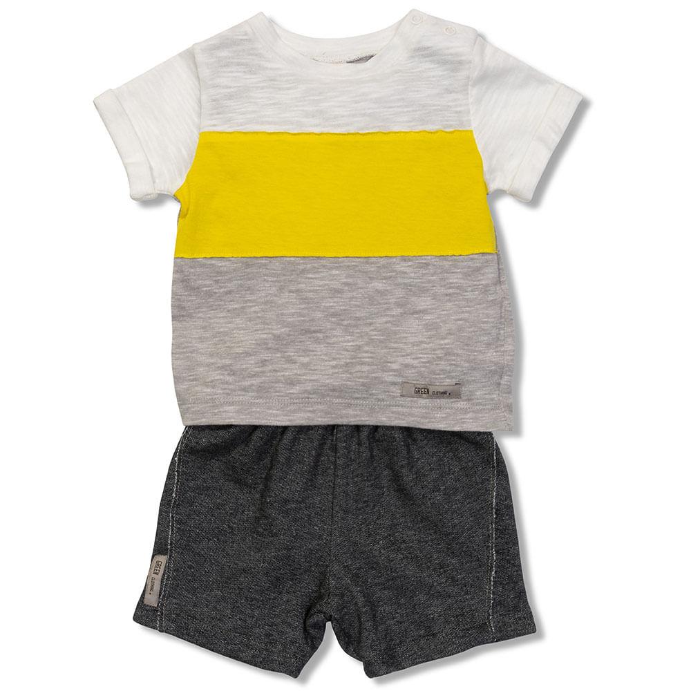 c9e523c9c322 Conjunto Camiseta e Bermuda Viva Cinza Claro Green - Bebê Menino. R$ 101.50