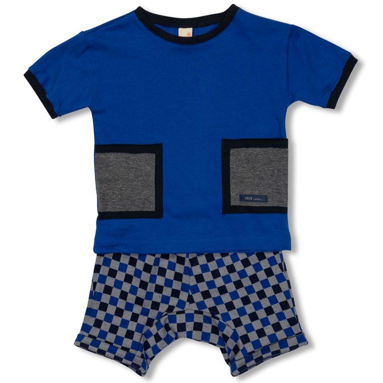 600ae13c65 Conjunto Camiseta e Bermuda Grid Azul Green - Toddler Menino - Loja ...