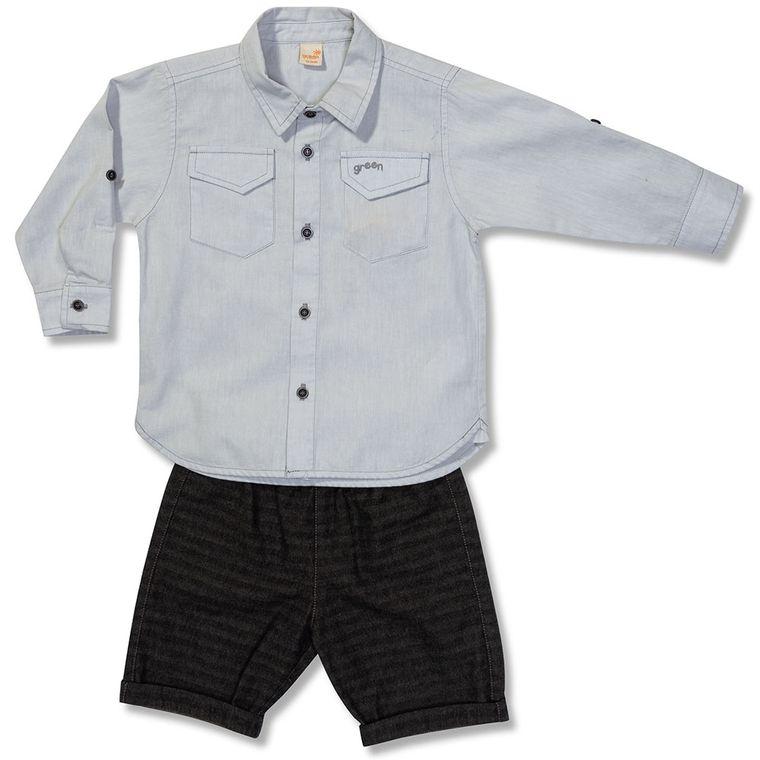Camisa Manga Longa e Bermuda Ambiente Cinza Claro Green - Toddler ... 9b3348f3b4cbd