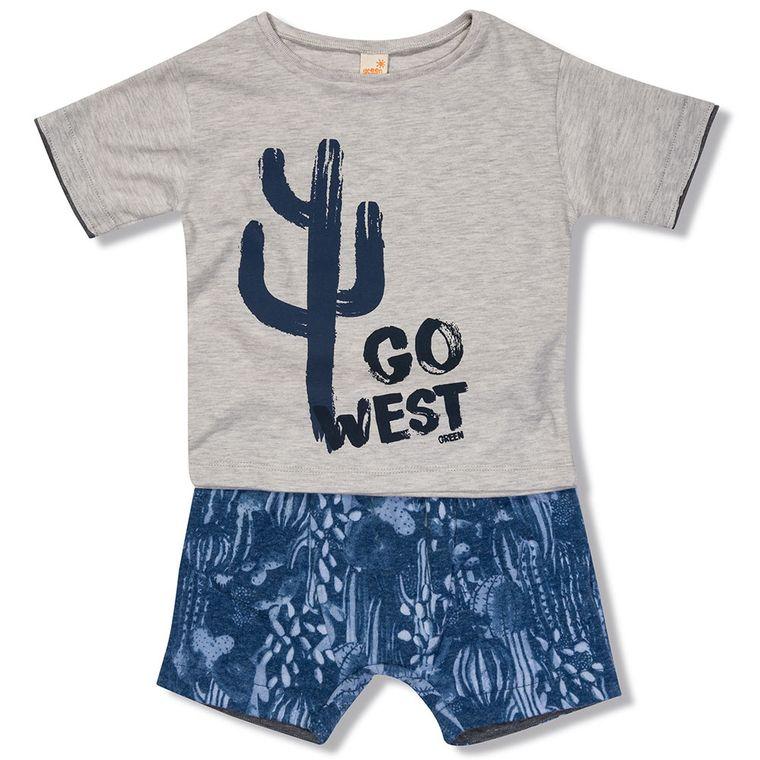 700376ca78 Conjunto Camiseta e Bermuda Tribos Azul Green - Toddler Menino ...