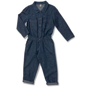 70aaafb40 Macacão Jeans Felicidade Azul Green - Infantil Menina