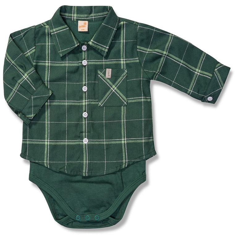 af46db09c Body Camisa Xadrez Manga Longa Verde Green - Bebê Menino - Loja Green