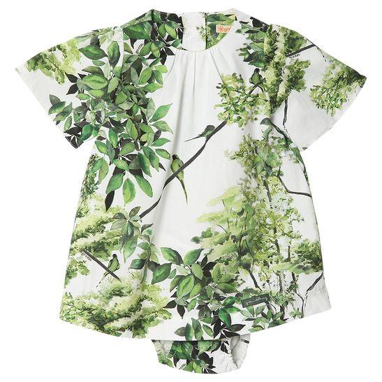 Vestido Botânico Verde - Bebê Menina 1-3M